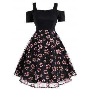 Mesh Panel Floral Vintage Fit and Flare Dress - Black - Xl