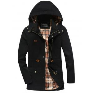 Snap Button Pocket Design Hooded Coat