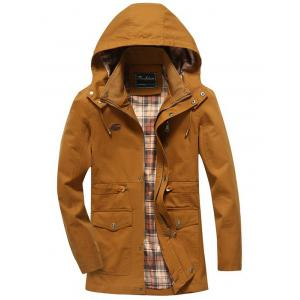 Snap Button Pocket Design Hooded Coat - Khaki - 3xl