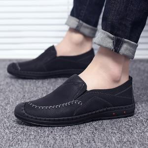 Faux Leather Stitching Slip On Casual Shoes -
