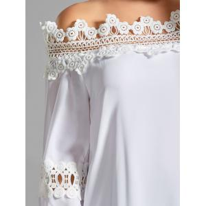 Bell Sleeve Off the Shoulder Lace Panel Blouse - WHITE S