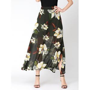 Flower Print High Waist Chiffon Slit Skirt - Blackish Green - Xl