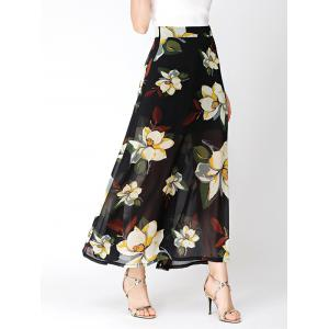Flower Print High Waist Chiffon Slit Skirt - Black - S