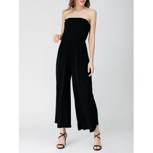 Elastic Waist Wide Leg Tube Jumpsuit - Black - One Size