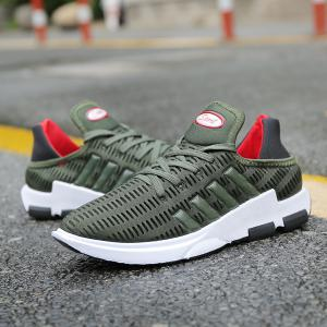 Tie Up Breathable Mesh Athletic Shoes - ARMY GREEN 43