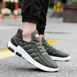 Tie Up Breathable Mesh Athletic Shoes - Army Green - 44