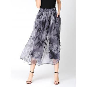 Flower Print Chiffon Slit Wide Leg Pants - Gray - One Size