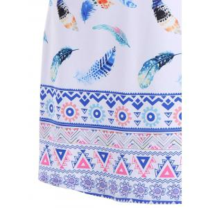 Colorful Feather Print Dress - WHITE M