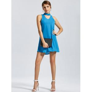 Sleeveless Short Choker Dress - BLUE XL