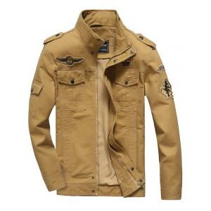Front Pocket Embroidery Patch Design Jacket - Khaki - L