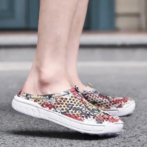 Printed Hollow Out Slippers - Floral - 40