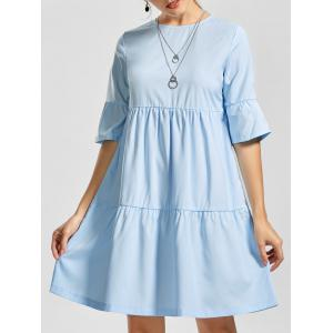 Shift Casual Knee Length Smock Flounce Dress