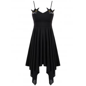 Cat Print Lace-up Handerchief Dress