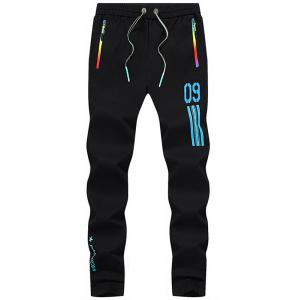 Number Printed Drawstring Beam Feet Sport Pants