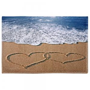 Beach Heart Print Coral Fleece Bath Area Rug