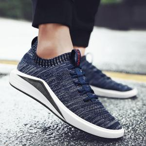 Colour Block Mesh Breathable Casual Shoes - Deep Blue - 40