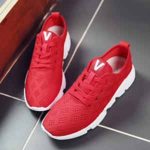 Mesh Breathable Athletic Shoes - RED 43