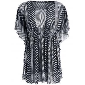 Zigzag Kaftan Top - White And Black - One Size