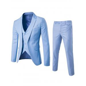 Single Button Blazer and Pants Business Twinset - Light Blue - Xl