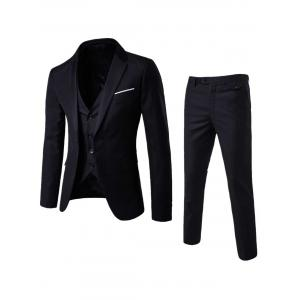 Single Button Blazer and Pants Business Twinset - Black - 4xl