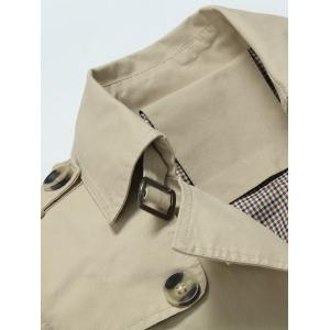 Slim Fit Lapel Button Up Coat - Kaki M