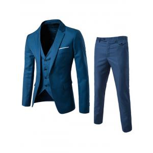 Single Button Blazer and Pants Business Twinset - Ocean Blue - Xl