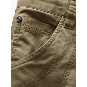 Zipper Fly Casual Slim Chino Shorts - Kaki 31
