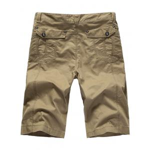 Zipper Fly Casual Slim Chino Shorts - KHAKI 31