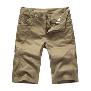 Zipper Fly Casual Slim Chino Shorts - Khaki - 36