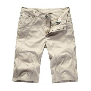 Zipper Fly Casual Slim Chino Shorts - White - 33