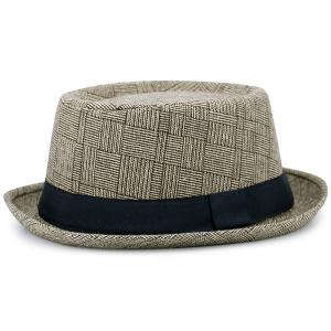 Pinstripe Plaid Ribbon Embellished Pork Pie Hat - Palomino