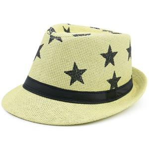 Stars Printing Ribbon Embellished Straw Hat