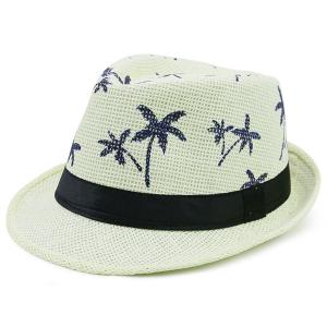 Coconut Tree Pattern Ribbon Embellished Straw Hat - Light Yellow - One Size