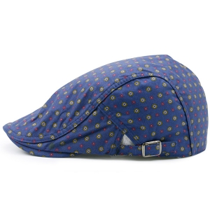 Tiny Orderly Floral Pattern Flat Hat - Deep Blue - One Size