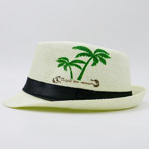 Coconut Tree Letters Printing Ribbon Straw Hat -