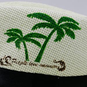 Coconut Tree Letters Printing Ribbon Straw Hat - WHITE