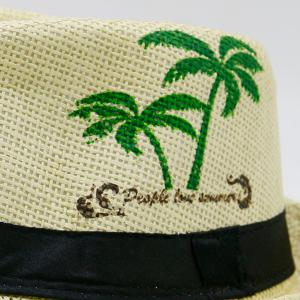 Coconut Tree Letters Printing Ribbon Straw Hat - PALOMINO