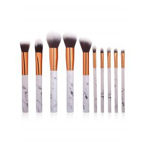 10Pcs Marbling Handle Facial Makeup Brushes Kit - White
