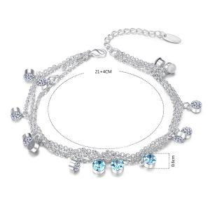 Multilayered Rhinestone Charm Anklet - SILVER