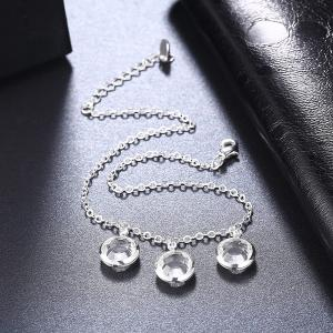 Artificial Crystal Round Charm Anklet - SILVER