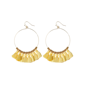 Cicle Tassel Hoop Drop Earrings - Yellow