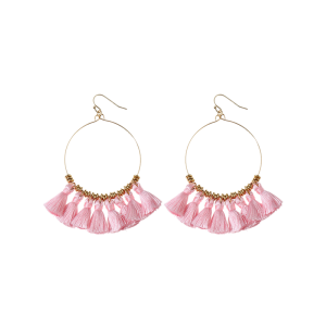 Cicle Tassel Hoop Drop Earrings - Pink - 3xl