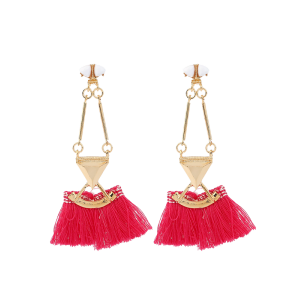 Alloy Triangle Bohemian Tassel Earrings - Red