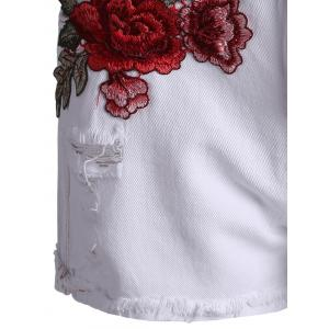 Embroidered Curved Hem Ripped Denim Shorts - WHITE S