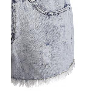 Shorts en denim à ourlet courbé -