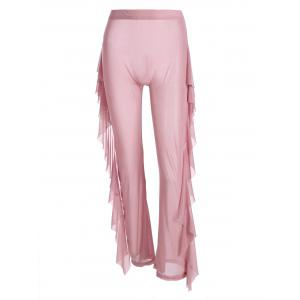 Sheer Mesh Ruffle High Waisted Wide Leg Pants