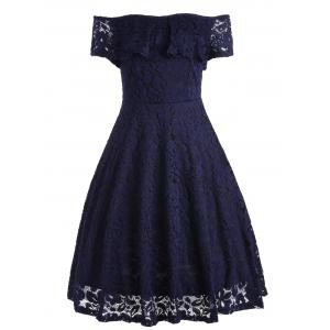 Ruffle Floral Lace Off Shoulder Cocktail Dress - Deep Blue - M