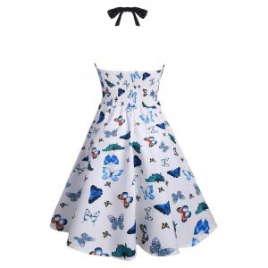 Halter Butterfly Print Vintage Pin Up Dress -