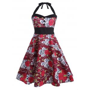 Backless Floral Skull Print Vintage Dress