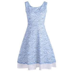 High Waist Print A Line Dress - Blue - M